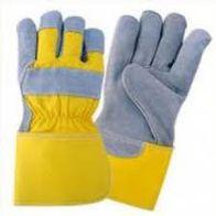 כפפות עבודה עור צהוב אפור